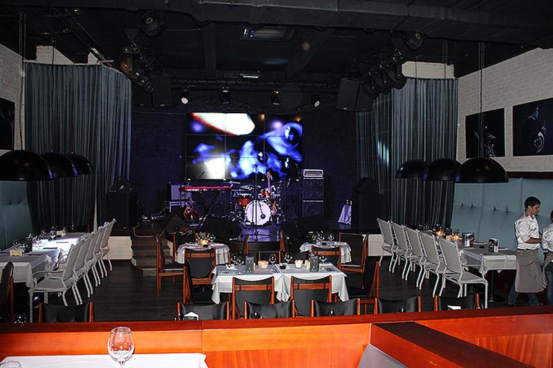 Видеостена 3х3 на основе панелей NEC в ресторане «Сплетни»