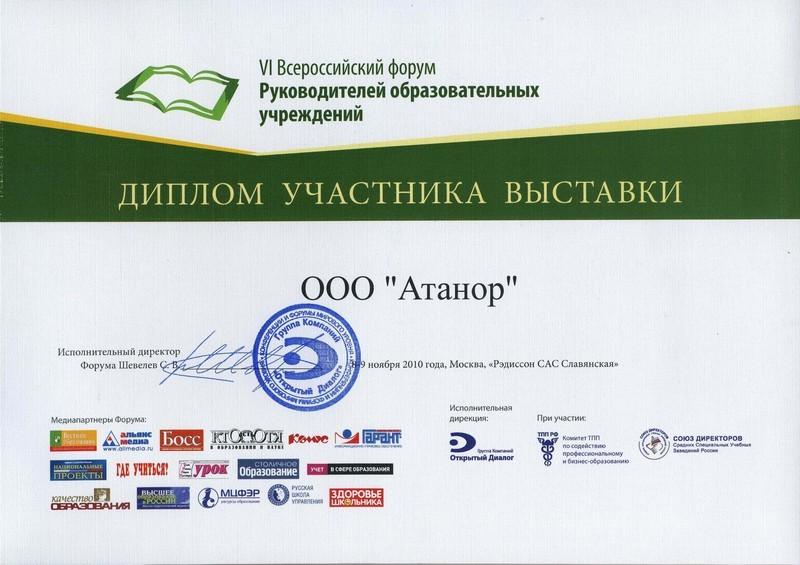 Диплом участника форума руководителей образовательных учреждений
