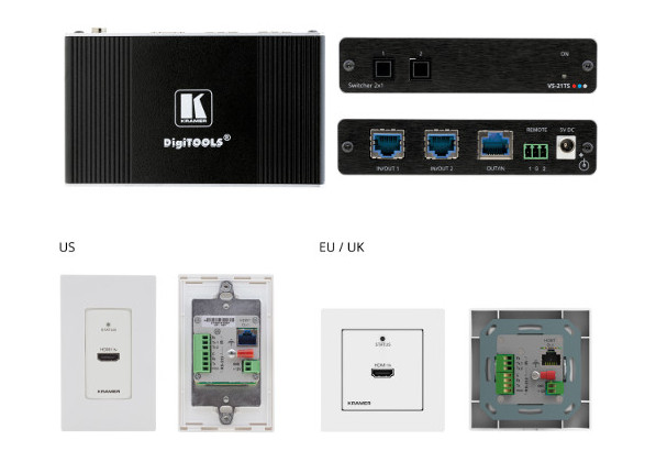 Переключатель Kramer VS-21TS и настенная панель-передатчик Kramer WP-789T