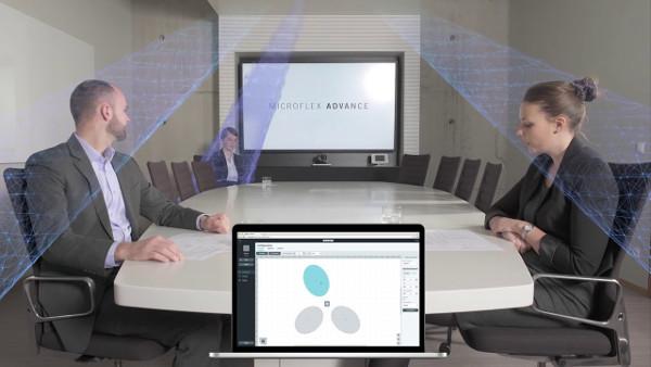 Потолочные микрофонные массивы с системой управления для переговорных комнат